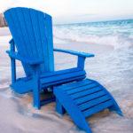 Blå däckstol av återvunnen plast