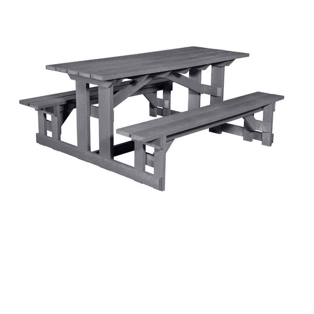 Rektangulärt Picknickbord av 100% återvunnen plast, hållbar och underhållsfri